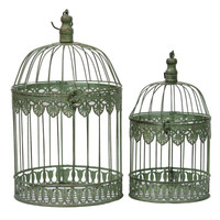 Unique 2 piece Metal Bird Cage By Benzara