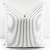 French Gray Farmhouse Ticking Stripe Pillow Cover