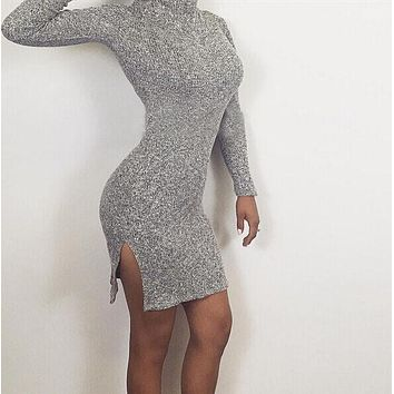 Fashion Long-Sleeved Tight Dress