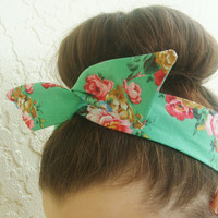 Dolly Bow, Teal with large Flowers Flexible Wire Headband Teen Girl Woman hair accessory 50's