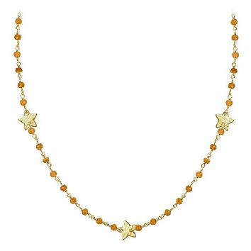 """CHG-198-CN-18"""" 18K Gold Overlay Necklace With Carnelian"""