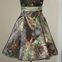 Camo Dress Strapless Sweetheart Full Skirt