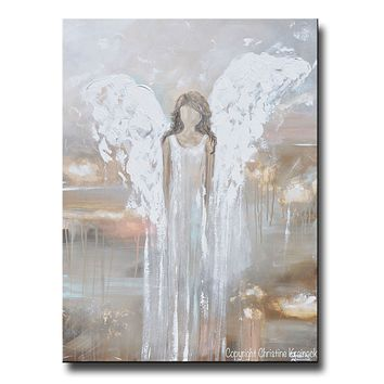 """Delicate Strength"" GICLEE PRINT Abstract Angel Painting Fine Art Guardian Angel Home Canvas Wall Art"