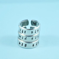 big sis/mid sis/ lil sis  -  Hand Stamped Rings Set, Handwritten Font, Shiny Aluminum, Forever Love, Friendship, BFF, V2