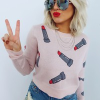 Makeup Obsession Sweater: Pink/Multi