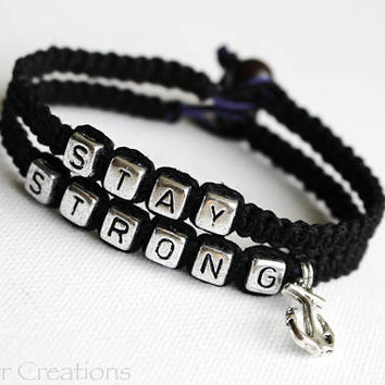 Set of Two Black Stay Strong Bracelets with Silver Tone Anchor Charm, Nautical Theme Recovery Awareness Bracelets, Mental Health