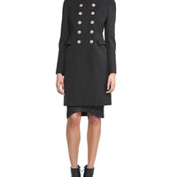 Mandarin-Collar Double-Breasted Coat, Lace-Texture Turtleneck Top & Jacquard Brocade Curved-Bottom Skirt