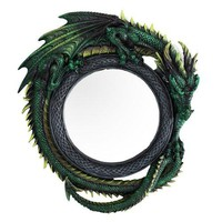 """Gothic 11.75"""" Tall Jade Pagoda Green Intertwined Dragon Round Wall Mirror Plaque Home Decor"""