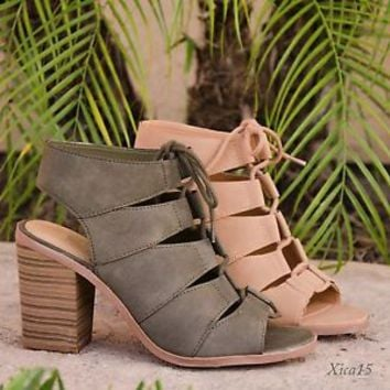 New Women's Sandals Chunky Heel Lace Up Open Toe Cutout High Heel Sandal Shoes