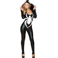 Black&White Tight Bodysuit Sexy Patent Leather Costumes Spider-man Female Catsuit Uniform Temptation Halloween Cosplay One Size