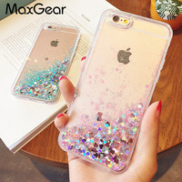 Fashion Liquid Glitter Sand Mobile Phone Cases For iphone 6 6s 5 5s SE 7 7 Plus Heart Sequins Dynamic Plastic + Soft Edge Fundas