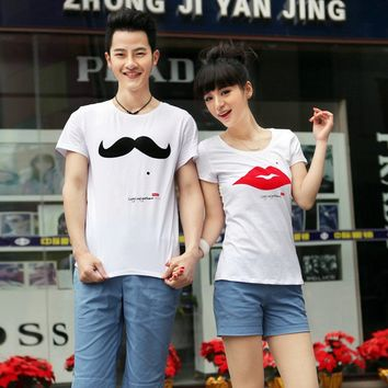 His and Her Cheap Couples T Shirts Lips and Mustache Set of 2 Personalized Couples Jewelry | Occasions Uncommon Gifts | Unique Phone Cases | Worldwide Shipping