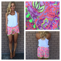 Neon Pink and Lime Mardi Gras Shorts