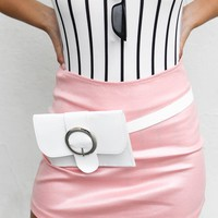 Packing Light White Faux Leather Belt Bag