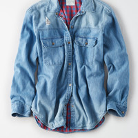 AE Plaid Lined Denim Shirt, Blue