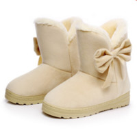 Ugg boots during the winter to keep warm boots and thicken the new bow boots Beige
