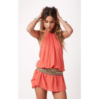 Blue Life Island Halter Dress in Coral
