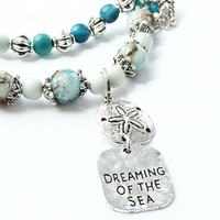 Dreaming Sea Charm Necklace, Silver Sand Dollar Jewelry, Beach Blue, Tagua Nut Beads, Ocean Sea Glass Beads