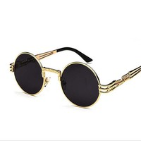 Retro Round Steampunk Sunglasses UV400 Protection Lunette Gold Metal Spring Sun Glasses For Men Cool Circle Mirror Shades