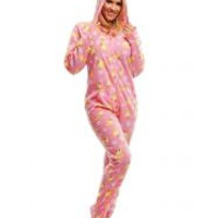 Pink Ducks Adult Footed Onesuit Pajamas