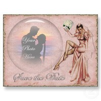 Vintage Old Fashioned Wedding Bride Save the Date Postcards from Zazzle.com