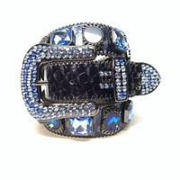 b.b. Simon 'Midnight Navy' Big Block Patent Python Crystal Belt