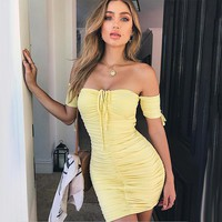 Strapless Ruffle Short Sleeve Bodycon Mini Dress