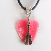 """Pink guitar pick necklace with guitar charm that is adjustable from 18"""" to 20"""""""