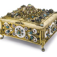 A Hungarian silver-gilt, enamel and gem-set musical jewelry box, early 20th century | Lot | Sotheby's