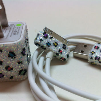 Leopard Print iPhone Charger w/ or w/ colored spots by glitzznglam