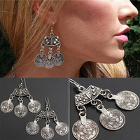1Pair Bohemian Style Silver Coin Hippie Boho Tibetan Tribal Dangle Hook Earrings (Size: 1.7cm by 1.7cm, Color: Silver)