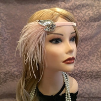 Mauve Pink Silver Flapper Headband Headpiece Sequin Ostrich Feather Wedding Party Head Band 1920s Twenties Velvet Art Deco Jazz Era (684)