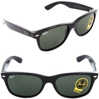 NEW Unisex Ray-Ban RB 2132 901L 55mm New Wayfarer Sunglasses Black / Green Lens