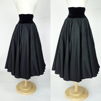 1950s circle skirt, black taffeta velvet high waist full A line tea length skirt, formal event holiday party skirt, Small to medium