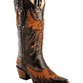 Corral Distressed Eagle Inlay Orange Rhinestone Cowgirl Boots - Snip Toe - Sheplers
