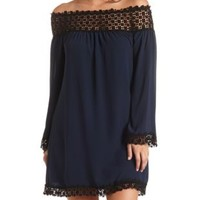 Off-the-Shoulder Crochet Trim Shift Dress by Charlotte Russe - Navy