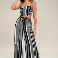 Road Trip to Rio Black Striped Two-Piece Set
