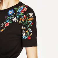 T-SHIRT WITH EMBROIDERED SHOULDER Black - S