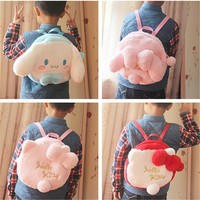 Kawaii Cartoon My melody Hello Kitty Cinnamoroll Dog Plush Backpack Children Schoolbag Soft Animals doll Bag Kids Girls Gifts