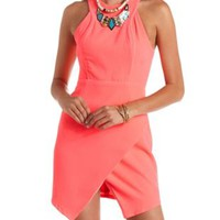 Racer Front Envelope Skirt Neon Dress by Charlotte Russe - Neon Pink