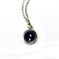 Semicolon Typewriter Key Necklace Inspired by 13 Reasons Why: punctuation mark charm, mental illness awareness