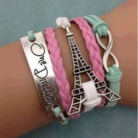 Fashion infinity bracelet,handmade bracelet,eiffer tower bracelet,one direction charm bracelet = 1652800836