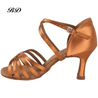 Sneakers Dance Shoes Brand Party Ballroom Women Latin shoes Brown High Quality Female Dancing Wear-resistant sole BD 216 Satin