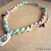 Peace Pendant Hemp Necklace Rasta Hemp Jewelry