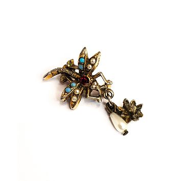 Victorian revival Dragonfly brooch with seed pearls, turquoise cabs and rhinestone vintage pin