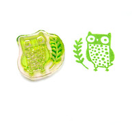 Cute Owl Rubber Stamp - Handmade Stamp, Forest Animal Stamp, Small Animal Stamp, Cute Stamp