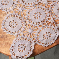 Vintage Table Linen, Grey Crochet Table Runner with Delicate Crochet Circle Pattern for Dresser or Table