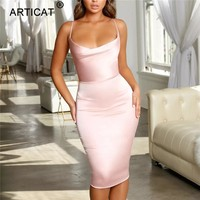 Articat Satin Strapless Bodycon Bandage Dress Spaghetti Strap Backless Sheath Christmas Dress Winter Casual Dress Vestidos