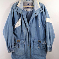 Long Vintage Denim Hipster Grunge 90's Blue Jean Coat Jacket