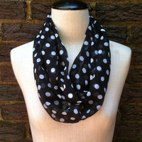 Classic Black and White Polka Dot Infinity Infinity Scarf Spring sheer lightweight